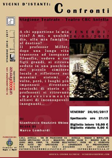 Teatro Crc Antella, il 26 maggio chiude la stagione con 'Confronti', di Gianfranco Onatzirò Obinu