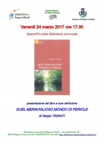 """A tutto volume – Il 24 marzo in biblioteca il libro """"Quel meraviglioso mondo di Pericle"""""""