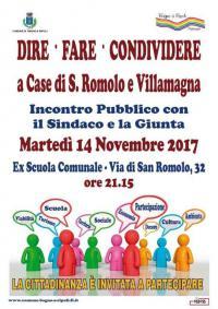 """""""Dire Fare Condividere"""", domani sera assemblea con i cittadini di Case di San Romolo e Villamagna"""